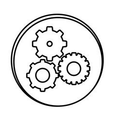silhouette symbol gears icon vector image