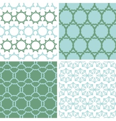 Four abstract moss green motives seamless patterns vector image vector image