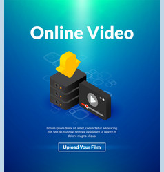 online video poster of isometric color design vector image