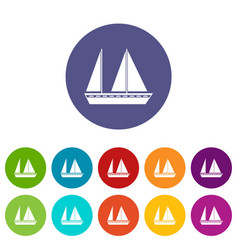 sailing boat set icons vector image