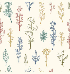 seamless pattern with doodle herbs and flowers vector image