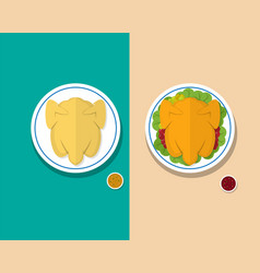 Top view headless steamed chicken and roasted duck vector