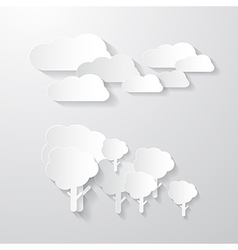 Clouds and Trees Cut From Paper Background vector image vector image