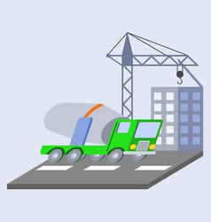 Concrete mixer truck flat skew icon vector
