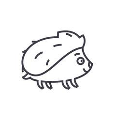 cute hedgehong line icon sig vector image