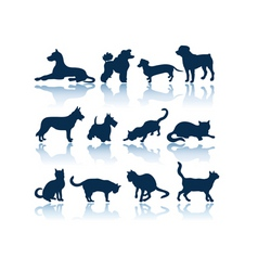 dogs and cats silhouettes vector image vector image