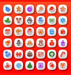 flat style christmas icons vector image