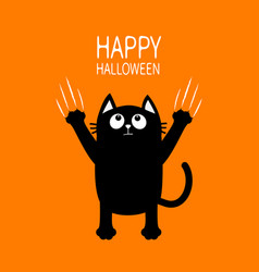 happy halloween black cat claw scratch glass vector image vector image