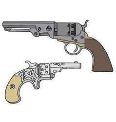 Old american handguns vector image