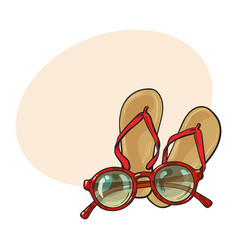 pair of flip flops and fashionable round vector image