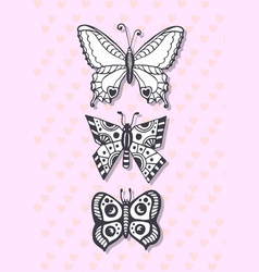 postcard with hand drawing butterflies cute vector image vector image