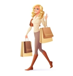 smiling woman walking with shopping bags vector image