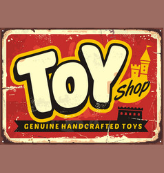 toy shop or toy store vintage sign vector image