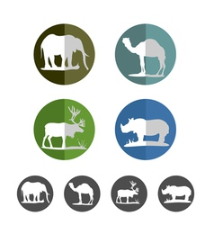 Animal flat icons vector image vector image