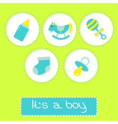Baby boy shower card with bottle horse and rattle vector image vector image