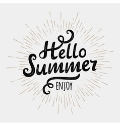 Hello summer typographic inscription on vintage vector image