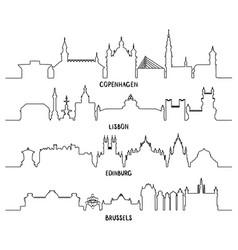line copenhagen lisbon edinburgh and brussels vector image vector image