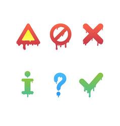 melting information signs set instruction symbols vector image