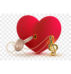 musical treble clef key to open love heart lock vector image