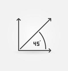 45 degree angle outline concept icon vector