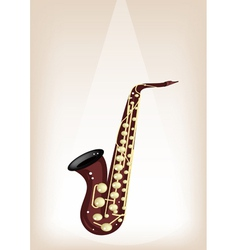 A Musical Alto Saxophone on Brown Stage Background vector image