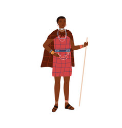 African woman aboriginal tribe holding stick vector