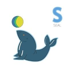 Alphabet letter s seal children vector