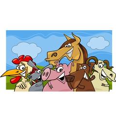 animals group farm m vector image