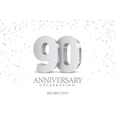 anniversary 90 silver 3d numbers vector image