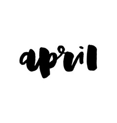 April lettering hand-written calligraphy april vector