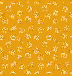 beekeeping yellow seamless pattern vector image