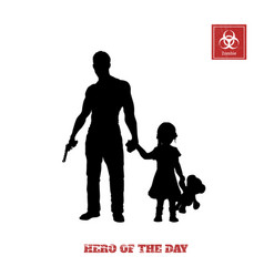 Black silhouette of man with gun and little girl vector