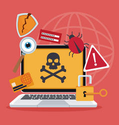 blue color background laptop with attack virus and vector image