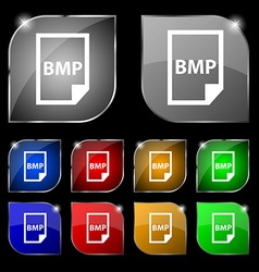 BMP Icon sign Set of ten colorful buttons with vector