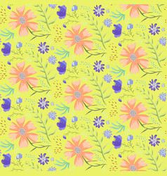 bright yellow doodle floral summer pattern vector image