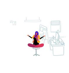 businesswoman sitting yoga lotus pose relaxing vector image