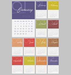 Calendar 2019 year week starts from sunday vector