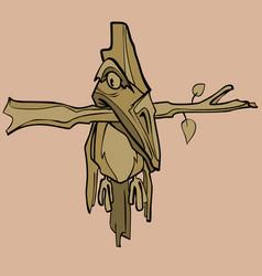 Cartoon fantastic wooden bird hanging on a branch vector