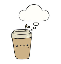 Cartoon takeaway coffee and thought bubble vector