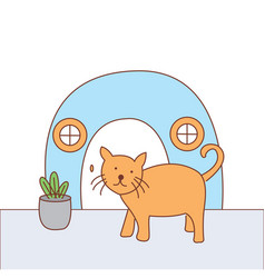 Cat alone at home design vector