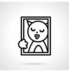 Cat portrait simple line icon vector image