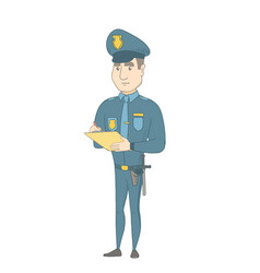 Caucasian traffic policeman writing fine bill vector