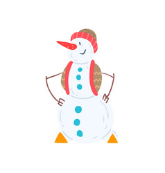 cheerful snowman character in a hat and vest vector image