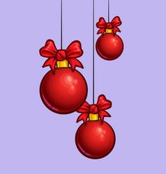 christmas cartoon icon - three red hanging balls vector image