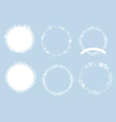 christmas minimal white snowflakes wreath frame vector image