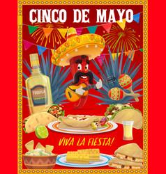 cinco de mayo mariachi chili pepper poster vector image