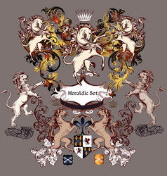 collection detailed design with coat arms vector image
