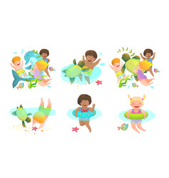 collection kids boys and girls swimming vector image