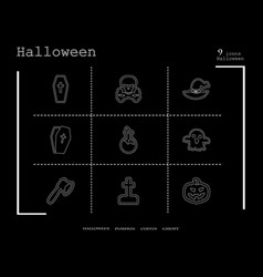 collection of 9 halloween icons in thin line style vector image