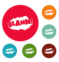 Comic boom blamm icons circle set vector